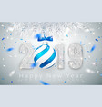 happy new year 2019 silver numbers design of vector image vector image