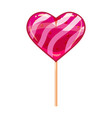 heart shaped lollipop dessert icon on stick sweet vector image vector image