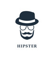 hipster avatar with hat and glasses vector image vector image
