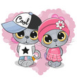 kittens boy and girl on a heart background vector image vector image