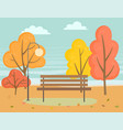 landscape autumn park wooden bench near trees vector image vector image