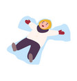 laughing child lying on ground and making snow vector image