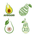 logo green avocado fruit with text for health vector image vector image
