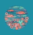 marine-themed circle shape design element sea vector image vector image
