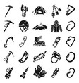 mountaineering equipment icon set simple style vector image