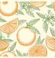 orange fruit and flowers pattern vector image