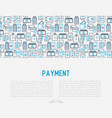 payment concept with thin line icons vector image vector image