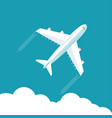 plane fly on blue cloud sky background with blank vector image vector image