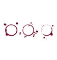 red wine stain rings isolated on white background vector image