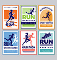 running club poster marathon winners sportsmen vector image