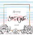 save the date cards wedding invitation with hand vector image vector image