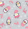 seamless background with cute penguins vector image vector image