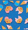 seamless pattern cartoon kawaii food ice cream vector image