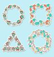 Set 4 Christmas framework from festive elements vector image vector image