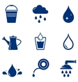 set blue watering icons vector image vector image