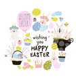 set cute cartoon bunny with easter eggs vector image vector image