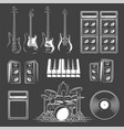 set musical instruments isolated on a black vector image vector image