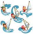 set of cartoon children sailing on swim on waves vector image