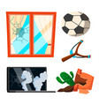 soccer broken window pot with flowers notebook vector image