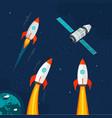 spaceship rocket and cosmic satellite vehicle set vector image