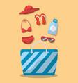 summer elements bag bikini sunglasses hat sandals vector image