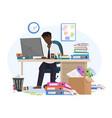 tired sleepy african american black male office vector image vector image