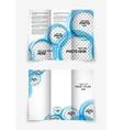 Tri-fold design brochure with blue circles vector image vector image