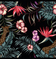 tropical night exotic seamless composittion black vector image vector image