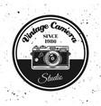 vintage camera round emblem label badge vector image vector image