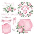watercolor pink roses bouquet ribbonsdecor set vector image vector image