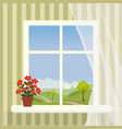 window with a hilly landscape behind it and a vector image