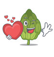 with heart artichoke mascot cartoon style vector image vector image