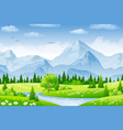 summer landscape with meadows and mountains vector image