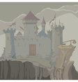 cartoon gray medieval fortress towers on a rock vector image