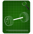 3d model of barbell on a green vector image
