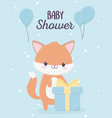 baby shower cute little fox with gift box vector image vector image