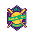 baseball college cup vintage label vector image vector image