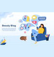 beauty blog concept with young woman vector image