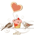 Birthday card with cute birds cupcake and heart vector image vector image