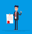 businessman proudly or joy standing and showing a vector image vector image