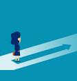 businesswoman standing on arrow symbol concept vector image vector image