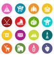 canada travel icons set colorful circles vector image vector image