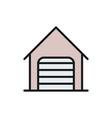 car garage with roller shutter door flat color vector image vector image