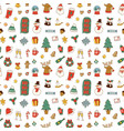 christmas greeting card stickers seamless pattern vector image vector image