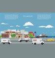 city on seaside landscape with cargo ship on the vector image