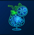 cocktail neon sign bright signboard light banner vector image vector image
