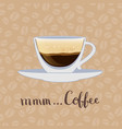 coffee cup on coffee beans background vector image vector image