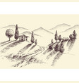 crops and hills hand drawing farm property sketch vector image vector image