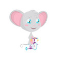 cute grey mouse rides a bicycle stock vector image vector image