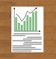 document with chart up vector image vector image